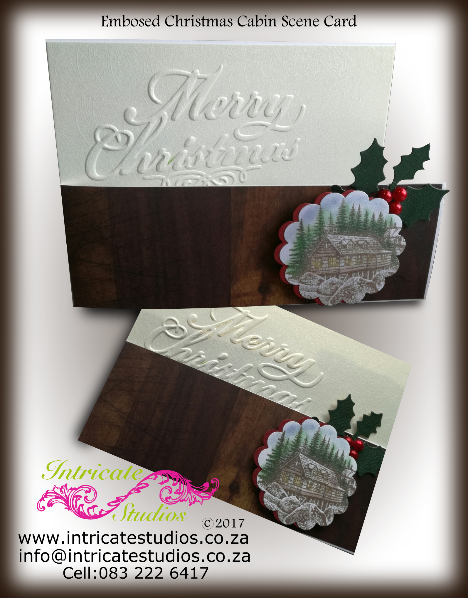 Embosed Chrsistmas Cabin Card