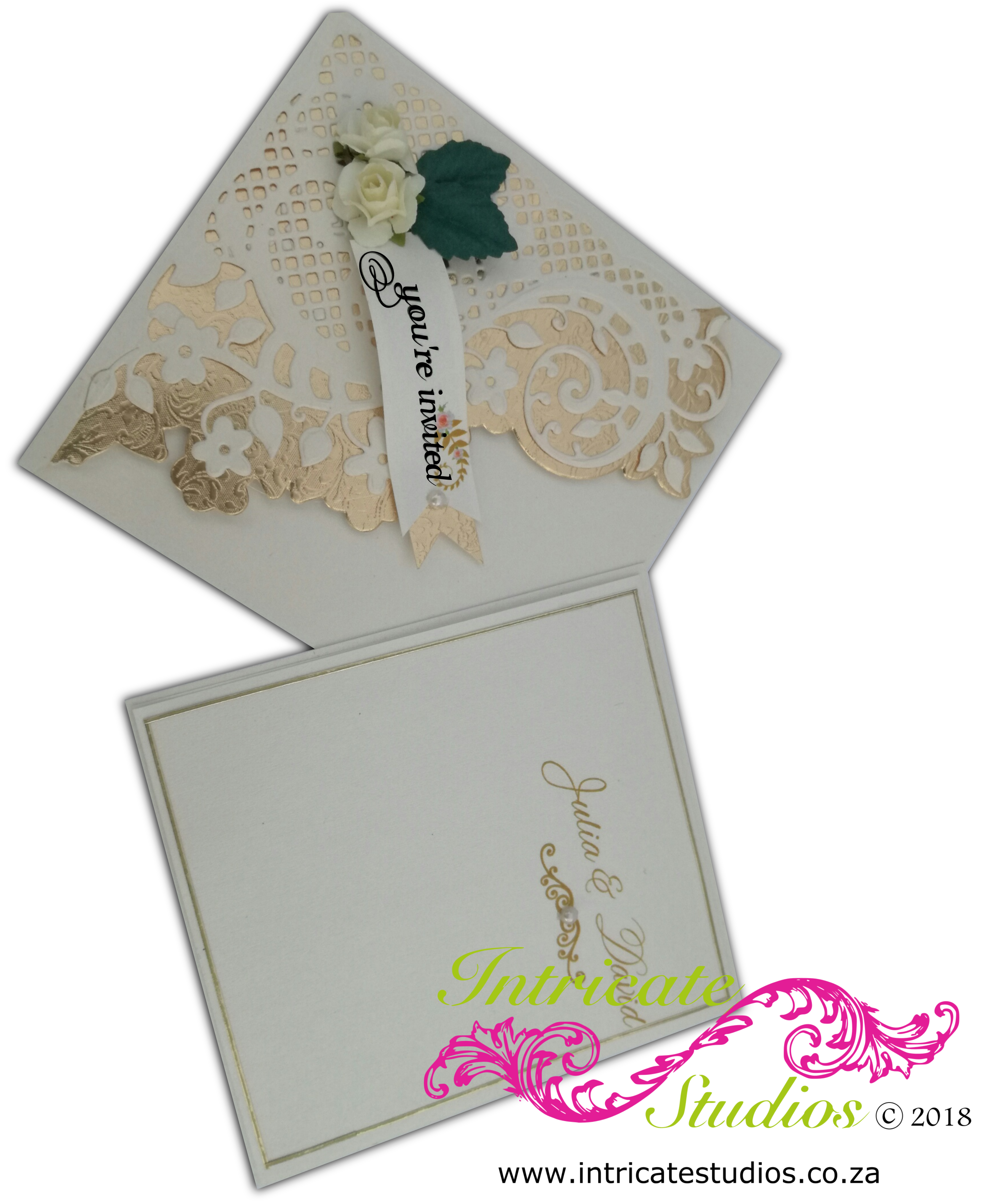 Fancy Diaginal cream & gold Invitation insert