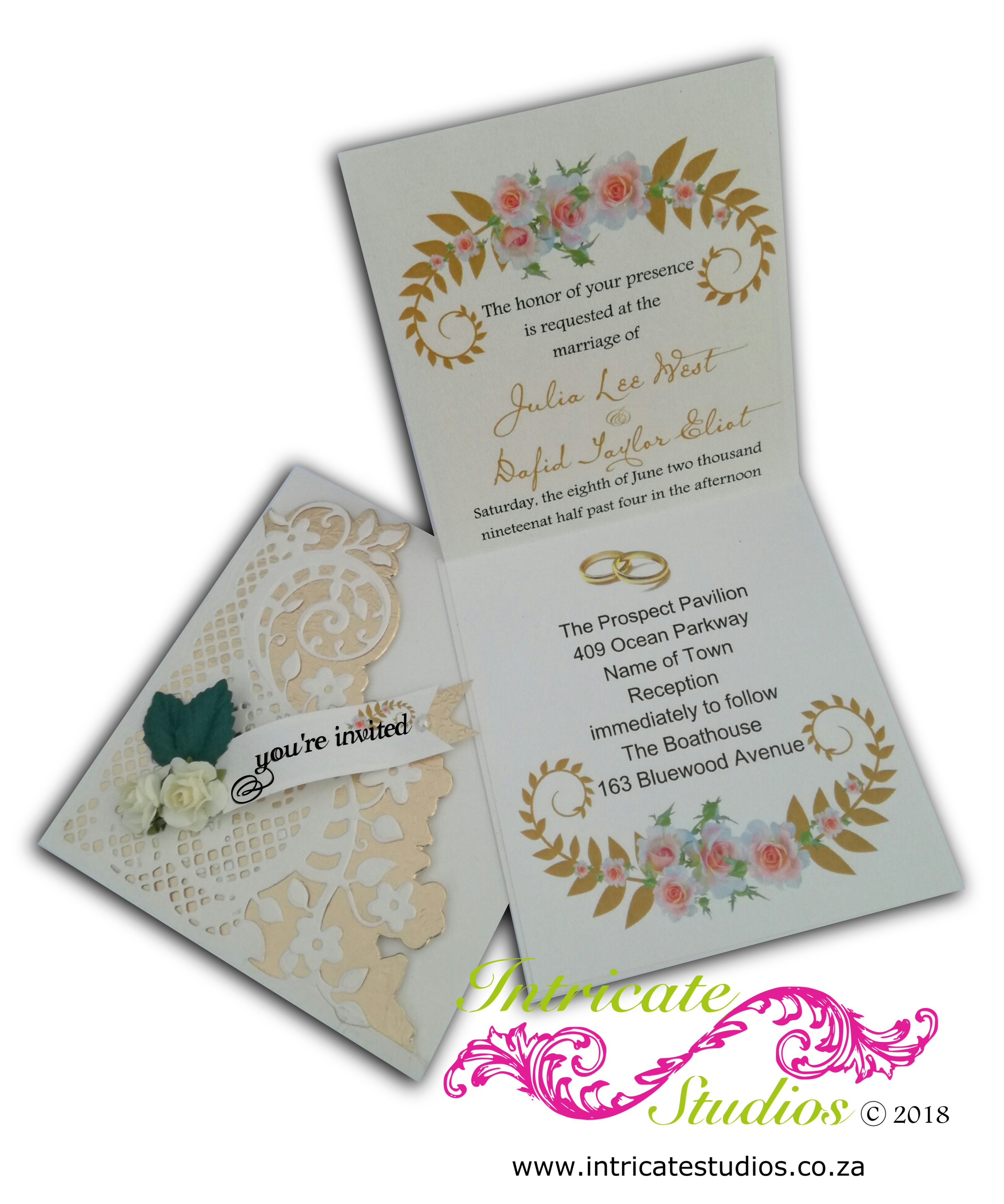 Fancy Diaginal cream & gold Invitation insert open