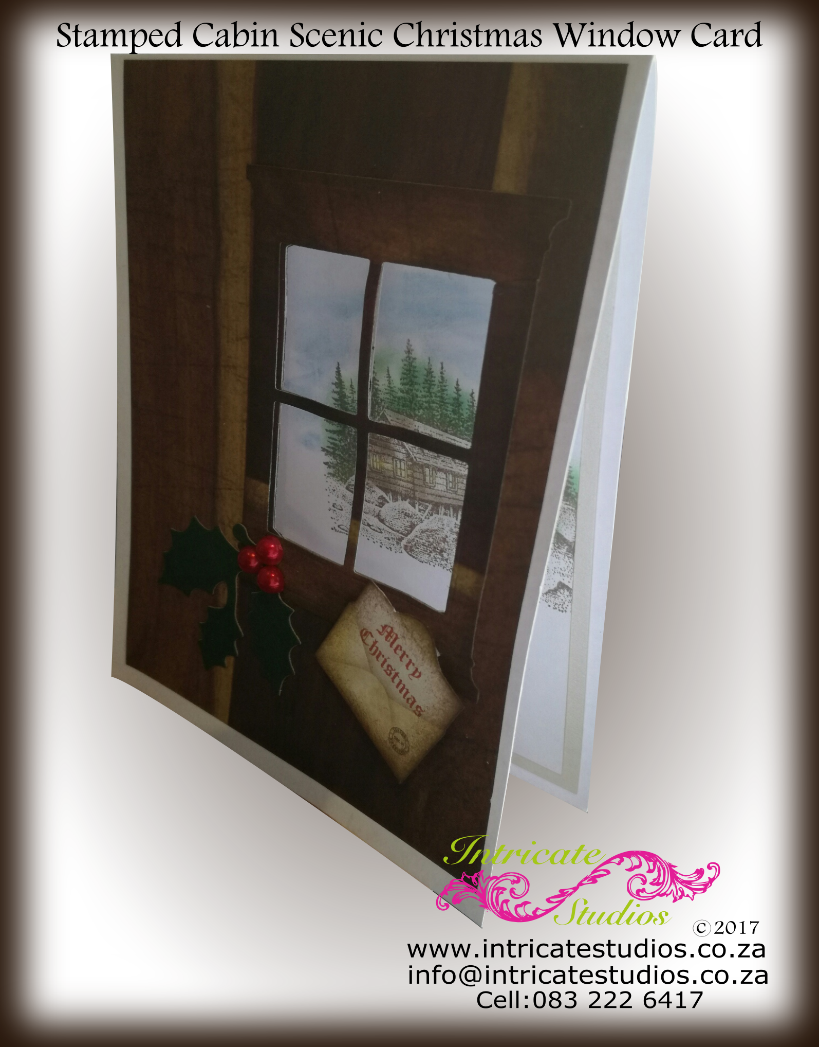 Stamped Cabin Scenic Christmas Window Card