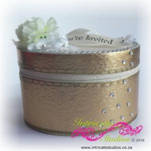 Hat box invitations - Gold 2